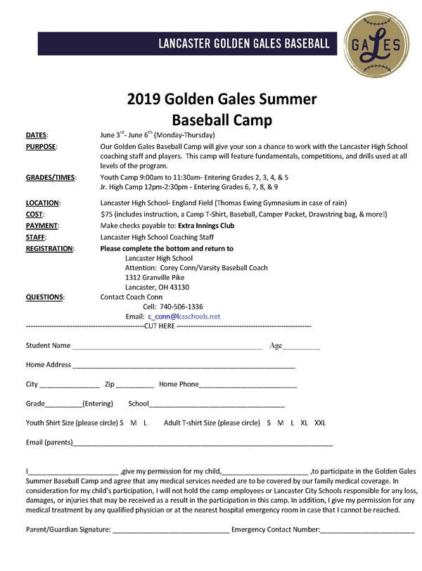 2019 Golden Gales Baseball Camp Information