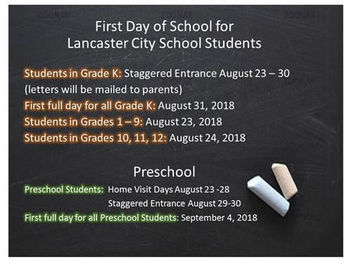 First Day of School information 2018
