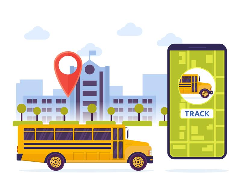 Picture of a school bus and mobile phone - regarding bus tracking app