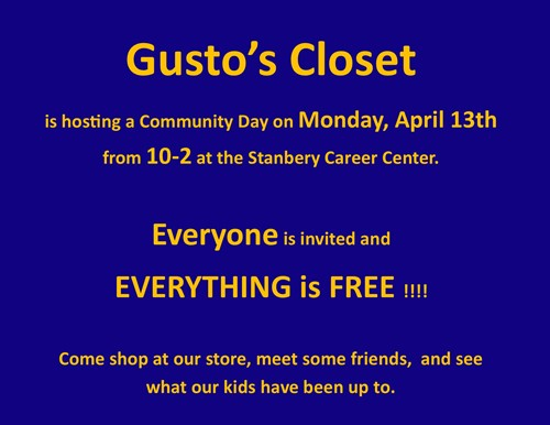 Gusto's Closet is hosting a Commumity Day on 4/13/20