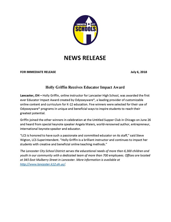 Holly Griffin - Press Release