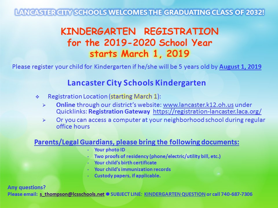Kindergarten Registration Information 2019-2020