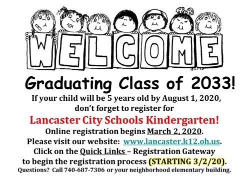 Kindergarten registration information for Class of 2033!