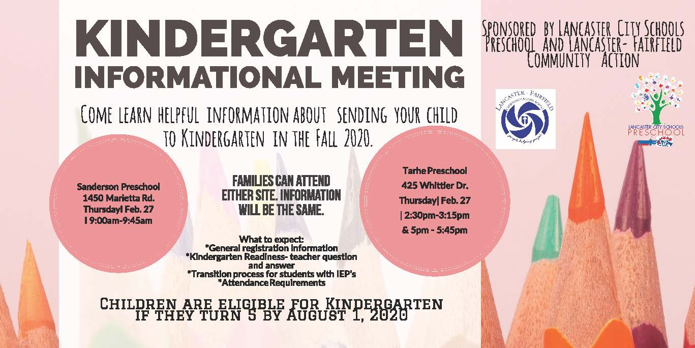 Information about Kindergarten Meeting on 2/27/2020