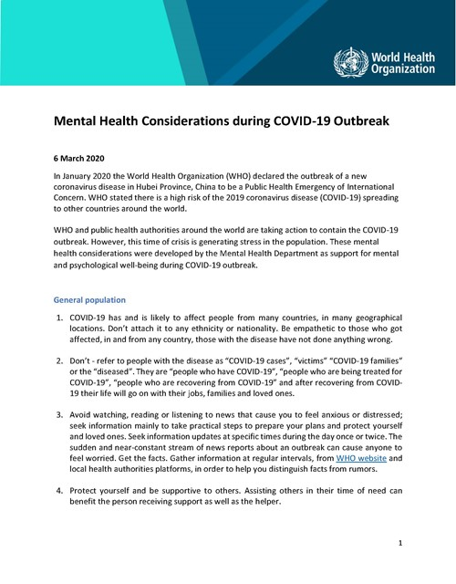 Mental Health Considerations during COVID-19 Outbreak