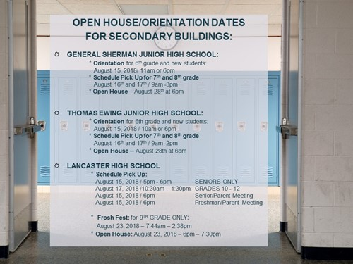 Schedule Pick-Up/Orientation Information 2018 (Secondary)