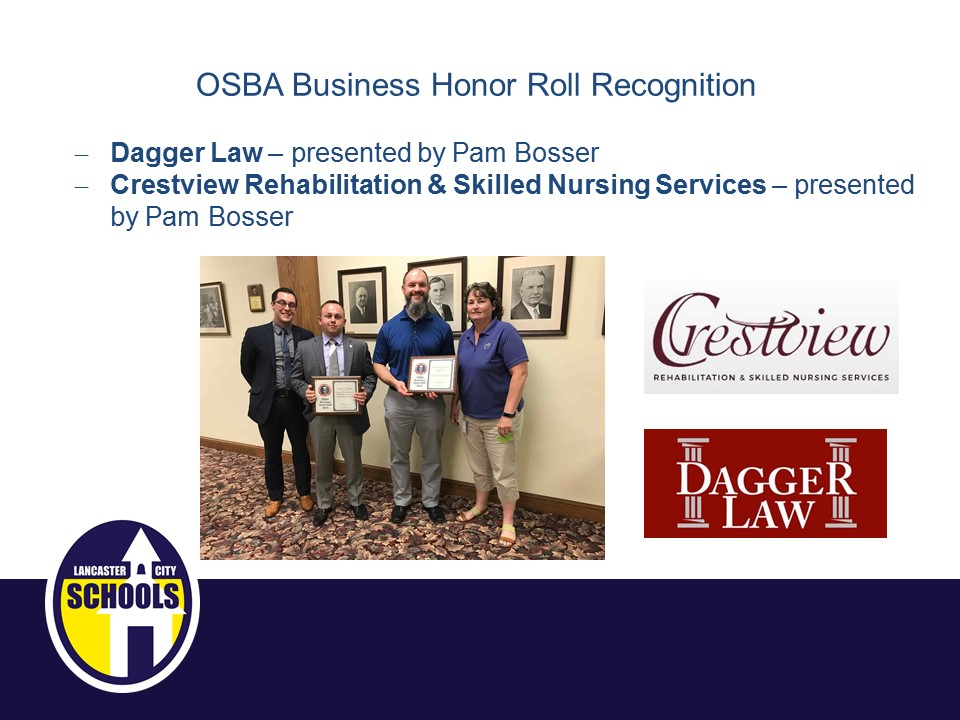 OSBA Business Honor Roll Recognition - Dagger Law and Crestview Rehab & Skilled Nursing Services