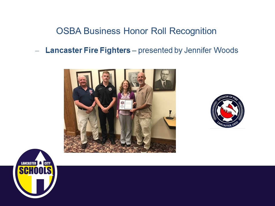 OSBA Business Honor Roll Recognition - Lancaster Fire Fighters