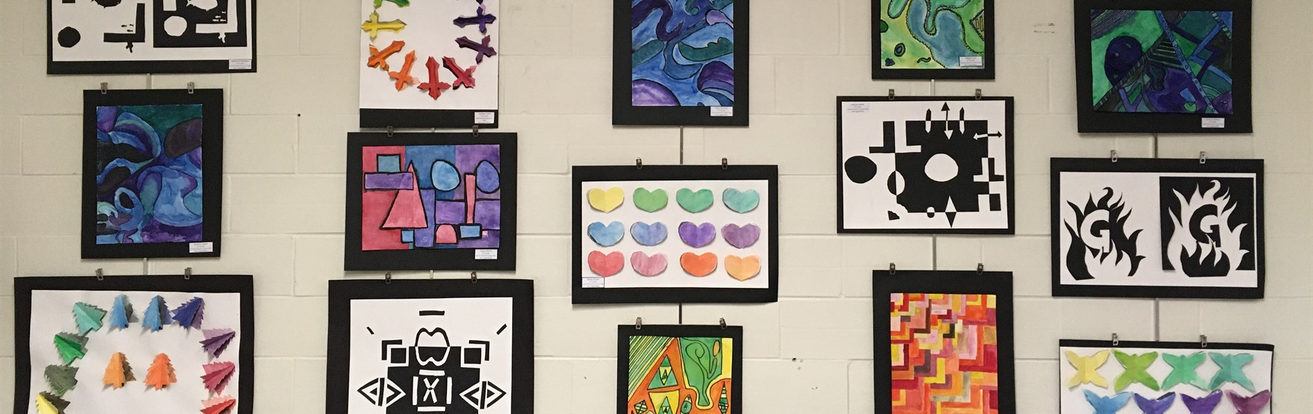 March 2020 Art Display at Central Office (Art work by General Sherman JH 6th graders)