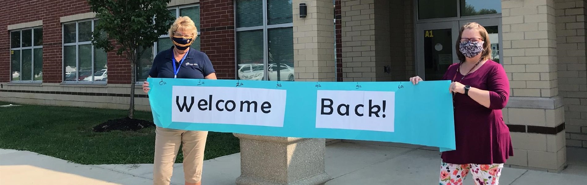 Sandy Walker, Principal, and Amy Morris, Assistant Principal, welcome students back in September, 2020.